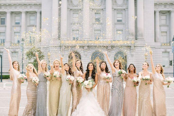 Sequins mismatched bridesmaids