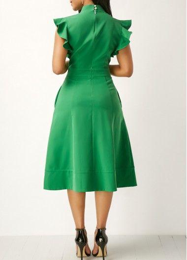 Green High Waist Tie Neck Pocket Dress | Rosewe.com - USD $33.23