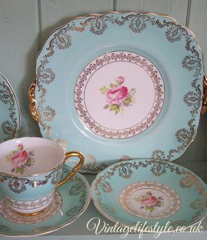 Shabby Chic - Great vintage china, so sweet!  Love the rose inside of the teacup.