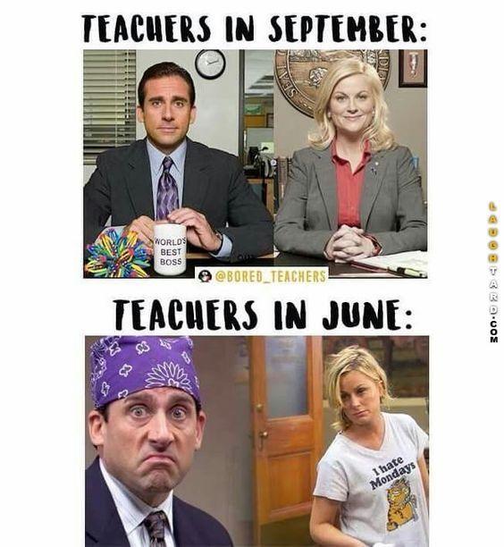 End of the School Year funny! Teachers in September vs teachers in June.