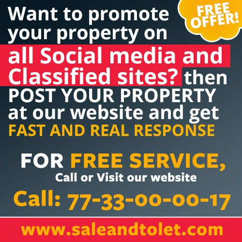 http://saleandtolet.com/ Free Promote your Property on all Social media sites? Than Post your property at this site! visit http://www.saleandtolet.com/