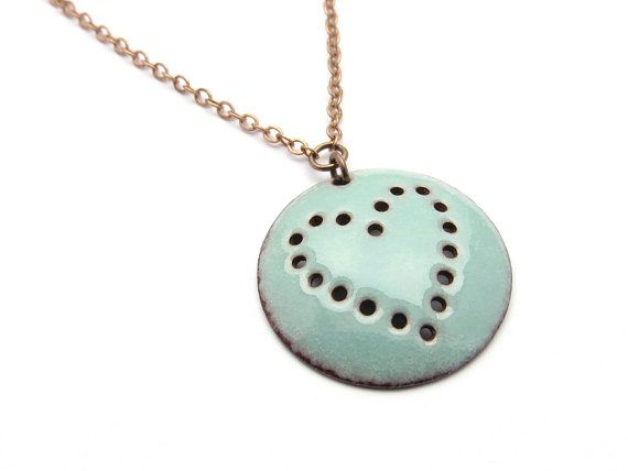 Turquoise Blue Heart Necklace Round Pendant Pastel by happyment,