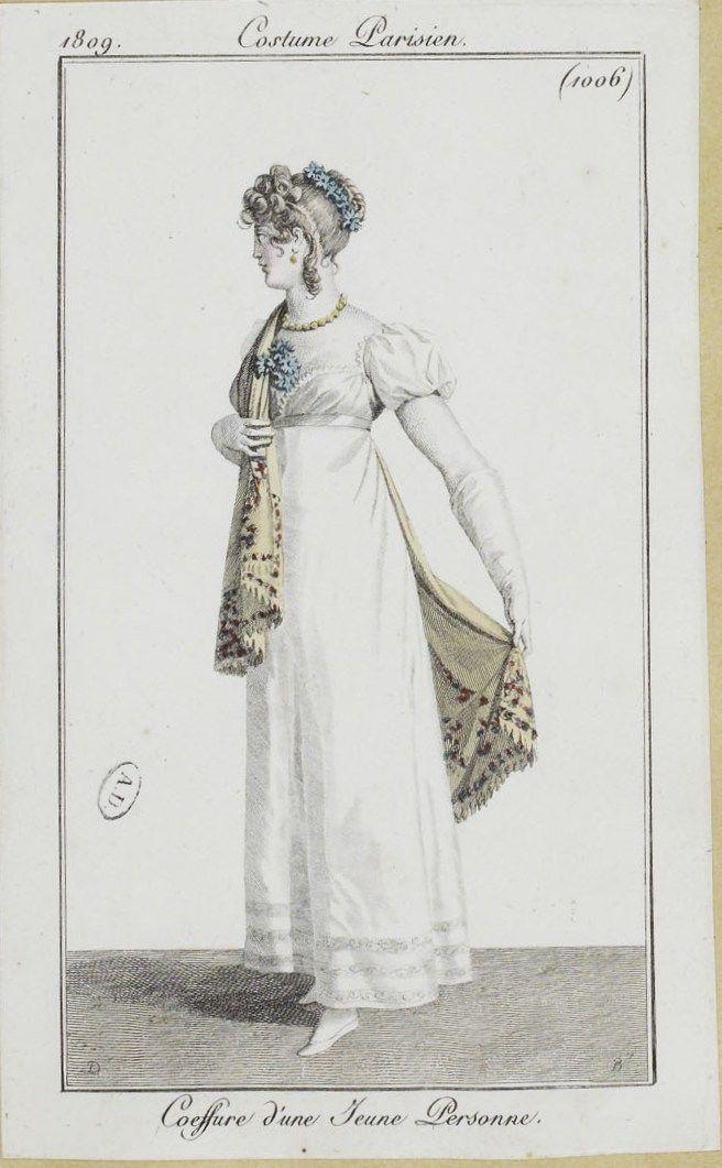 """Costume Parisien, 1809,     From the Bibliothèque des Arts Décoratifs via SceneInThePast flickr.   Plate 1006  """"Coeffure d'une Jeune Personne"""" #chidrenswear"""