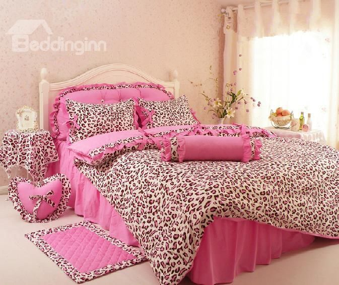 For Kendall when she's ready for a big girl room?  $ 67.89 New Arrival Comfortable Leopard Print Pink Princess Style 4 Piece Bedding Sets/comforter Sets