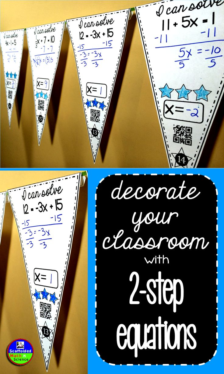 Students solve 2-step equations in this activity that doubles as classroom decoration! There are 2 sets of pennants in this download - 20 with QR codes for easy checking and 20 without QR codes. Also included is an optional student answer sheet and an answer key. Once a pennant is complete, it can be hung along a string in your classroom.