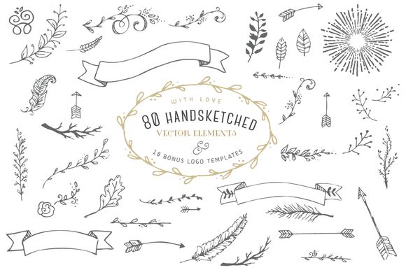 Hand-sketched vector elements bundle! -$33