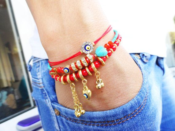 Ethnic bracelet set  set of 3  in purple and red  by Handemadeit, $29.90