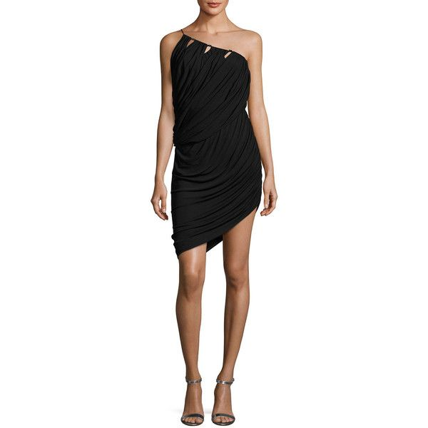 Halston Heritage One-Shoulder Asymmetric Draped Jersey Short Dress ($345) ❤ liked on Polyvore featuring dresses, black, spaghetti strap dress, jersey dress, cut out cocktail dresses, mini dress and short spaghetti strap dress