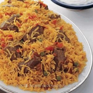 Lamb , beef, or chickenTomato and Green Peas Rice