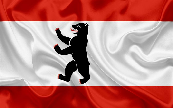 Descargar fondos de pantalla Bandera de Berlín, Tierra de Alemania, los Estados de Alemania, Berlín, bandera de seda, República Federal de Alemania