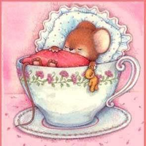 Cute mouse in a teacup bed! Good night!