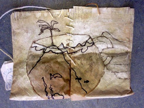 Art on teabags - onbewoond-eiland (uninhabited island) by Githa Schrijner