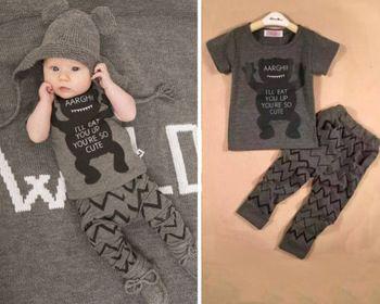 2015 niños del verano del niño del bebé muchacho infantil encantadora carta usted es tan lindo T-shirt Top + pants Outfit Set ropa 2 unids bebé de conjuntos