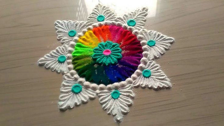 2 minutes rangoli designs/easy,simple,quick and small rangoli design by ...