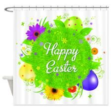 Happy Easter Shower Curtain   Colorful Easter Eggs Shower Curtain