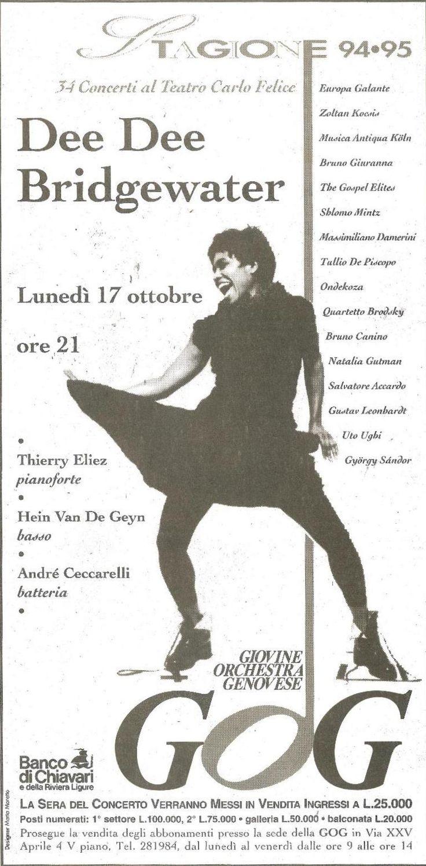 Locandina del concerto di Dee Dee Bridgewater Stagione GOG 1994-95  www.gog.it