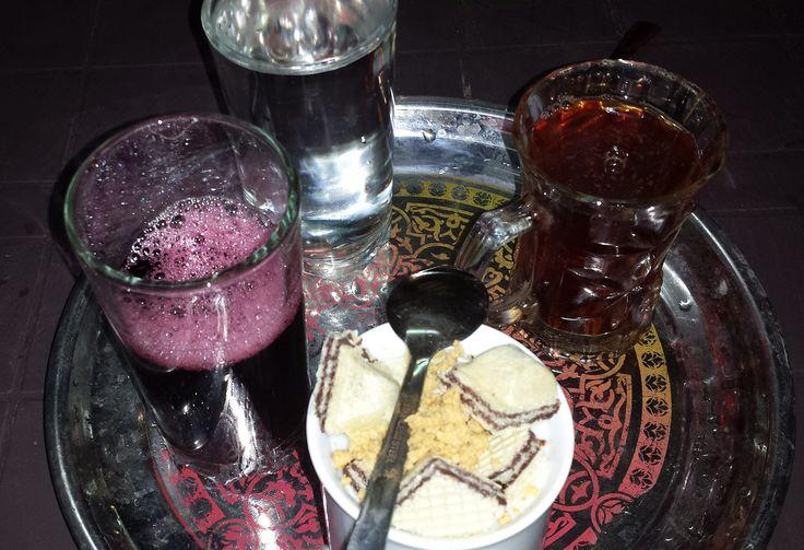 Traditional Egyptian drinks : Karkade, Sahlab & Shay (hot black tea)