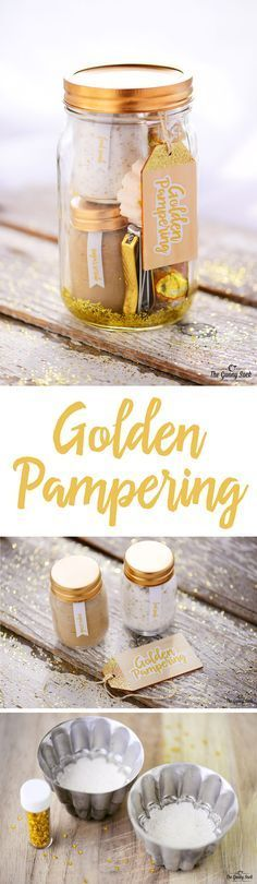 A Golden Pampering Mason Jar Gift has golden spa items. Post includes recipes for shimmering brown sugar scrub, gold dust foot soak and sparkling bath bombs. It is can be given for any occasion or holiday from a bridal shower to a birthday party and Mother's Day to Christmas.