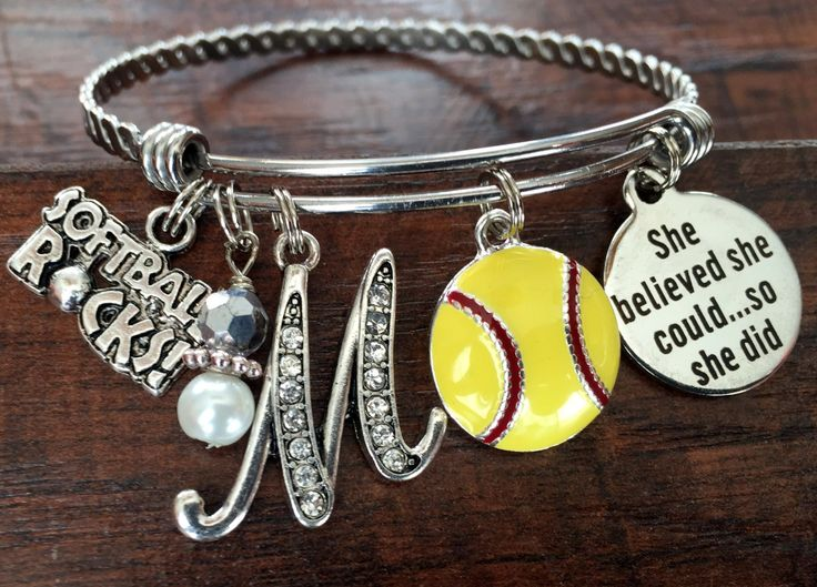 Softball gifts, Sports BRACELET, SENIOR gift, She believed she could so she did, Senior night Christmas gift, baseball mom soccer volleyball by buttonit on Etsy