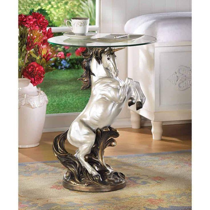 Unicorn Accent Table Accent Table Decor Glass Top Accent Table Accent Table