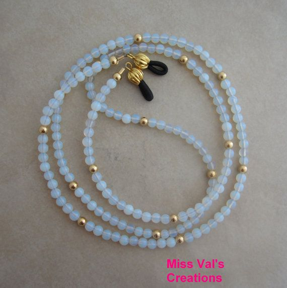 Gold Sea Glass Opal Eyeglass Chain Beaded by missvalscreations