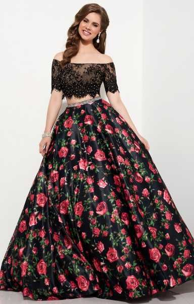 877f93829a Studio 17 - 12645 Embellished Off the Shoulder Two - Piece Floral Dress/  Long Summer Dress (Two-piece, Cap sleeve, Beaded, Floral print skirt, Back  zipper ...