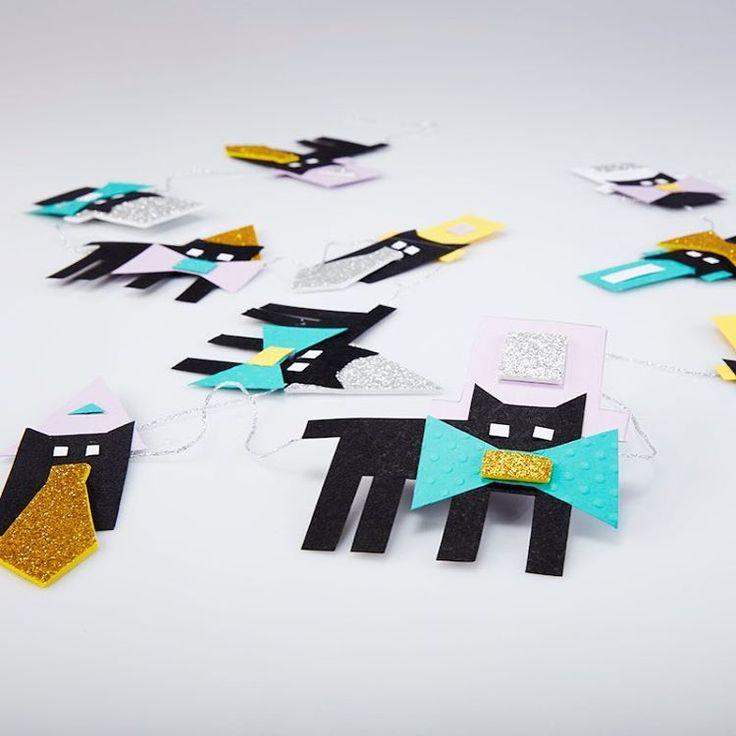 Fastelavnspynt. Katte med hatte. Katteguirlande. Sorte kasse. Cats. Paper cats. #kreakassen