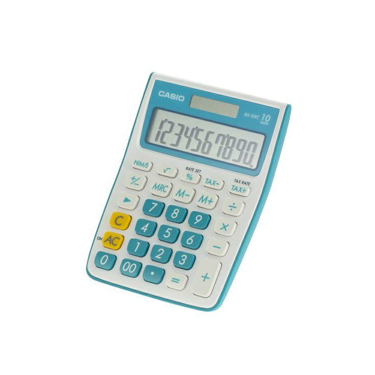 Calculadora para escritorio pantalla grande de 10 dígitos teclas plástica, dos fuentes de alimentación solar y de batería, de color blanco con celeste, en ella se pueden realizar calculo de tiempo, impuesto, funciones básicas, contiene tecla correctora - See more at: https://www.platino.com.gt/producto/calc-pesc-casio-ms-10vc-celest#sthash.rS0VFmIR.dpuf
