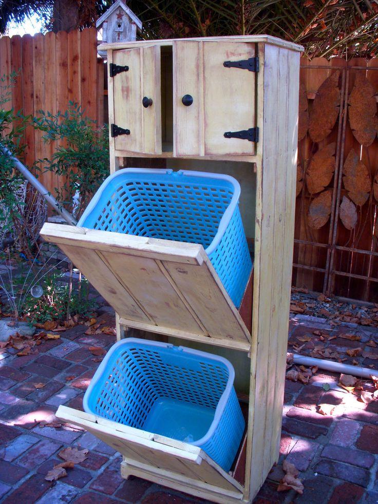 Wood Laundry Hamper, Trash Recycling