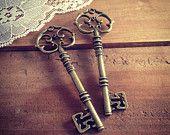Grote Skeleton Key charmes in vintage stijl van de antieke bronzen hanger sierlijke Fancy Victoriaanse (BD082)