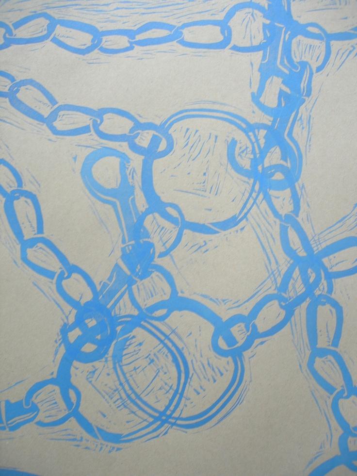 Lino print chain. Practice #DIY