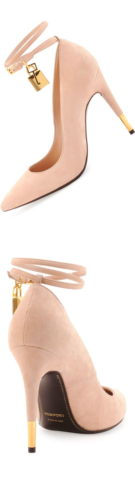 Tom Ford Suede Ankle-Lock Pump, Wild Rose (with Tom Ford golden hardware and adjustable double ankle strap)