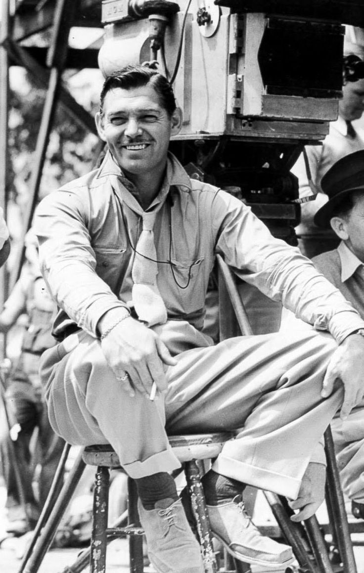 "Clark Gable on the set of ""Too Hot to Handle"" 1938"