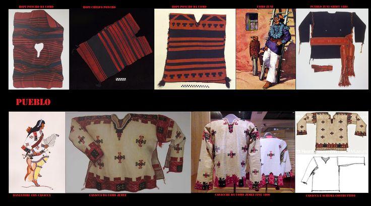 Poncho del tipo serape e casacche, anch'esse simili a serape con le maniche, facevano parte dell'abbigliamento maschile. Sono capi di vestiario piuttosto rari, relegati spesso ad usi rituali, a causa dell'influenza spagnola sul vestiario, di solito gli uomini, quando non vestono alla maniera moderna, portano, come i Navajo, abiti di stile ispanico.