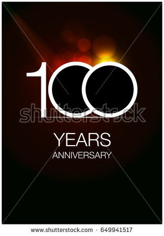 100 Anniversary Logo Celebration Isolated on dark Background