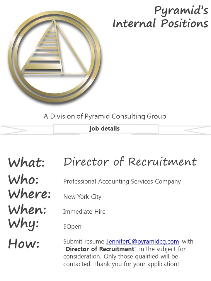 WE ARE HIRING INTERNALLY! Director of Recruitment $Open NY - submit resume