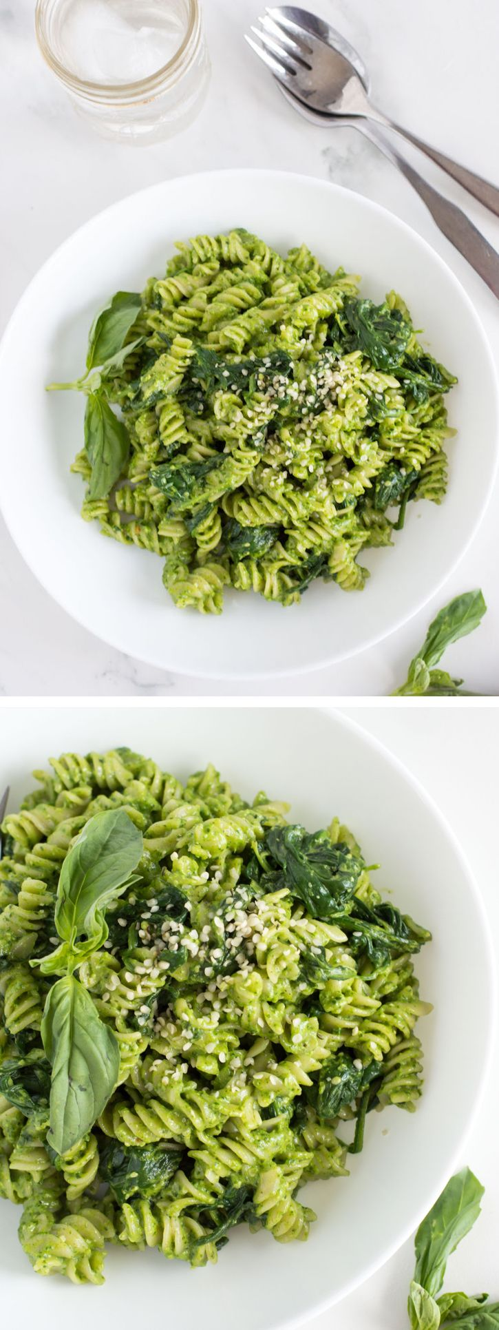 Spinach Pesto Pasta with Basil and Goat Cheese   nourishedtheblog.com   A super simple yet delicious Spinach Pesto Pasta with Basil and Goat Cheese recipe made gluten free and vegetarian friendly with spinach, basil, lemon, garlic and goat cheese. Click for the recipe!