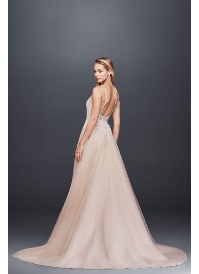 Sheer Beaded Bodice Organza A Line Wedding Dress Swg784