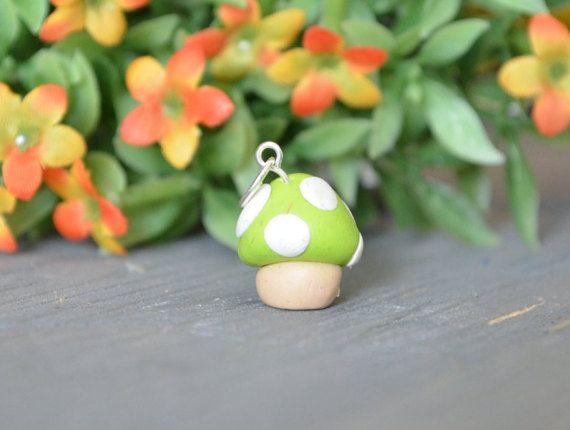Green Polymer Clay Mushroom Charm, Small Mushroom Charm