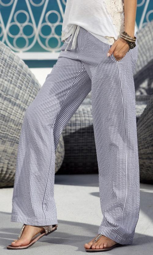 Love seersucker and wide leg tie waist or drawstring pants. Ahhhhh