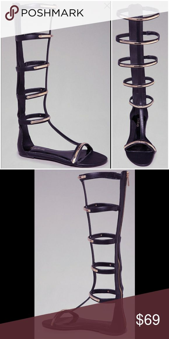 Bebe Flat Gladiator Sandles Bebe faux leather and metal straps create a cage around your leg to showcase the sexiest look that's ever hit a flat sandal. bebe Shoes Sandals