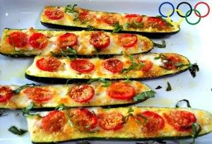 Olympic Zucchini Canoes ~ Zucchini, Basil, Tomato, & Cheese! ~ This one has the recipe (unlike the other one going around Pinterest.) Looks YUMMY!