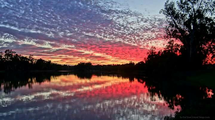 Sunrise reflections on the murray river.