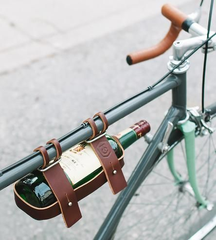 Leather Bike Wine Carrier /