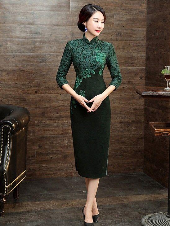 Green Wool Lace-Trim Qipao / Cheongsam Dress with Long Sleeve