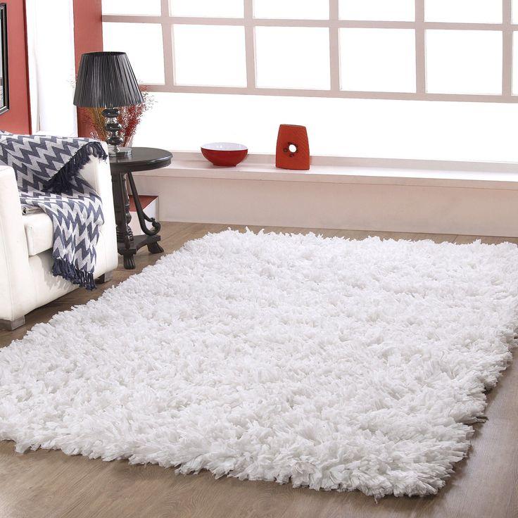 white shag rug. Hand Woven White Shag Area Rug