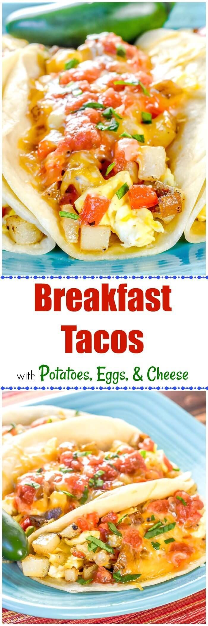 This Breakfast Taco ain'tno Taco Bell Breakfast. It's way better! These BreakfastTacos with Potatoes, Eggs, and Cheese are the real deal, like the ones you find in Austin, Texas! #BreakfastTacos #sundaybreakfast
