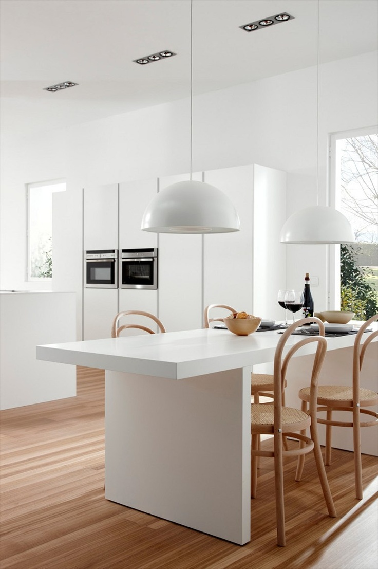 #Kitchen with island SERIE 45 POLAR WHITE by Muebles Dica #white