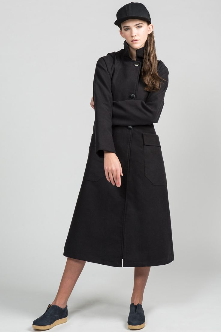 Rainout Coat by Pillar.  Eco-friendly long trench. Made in Canada.