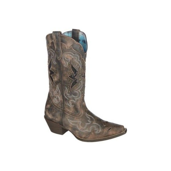 Laredo Womens Spellbound Cowboy Boots ($145) ❤ liked on Polyvore featuring shoes, boots, western cowboy boots, studded boots, western style boots, western boots shoes and leather western boots